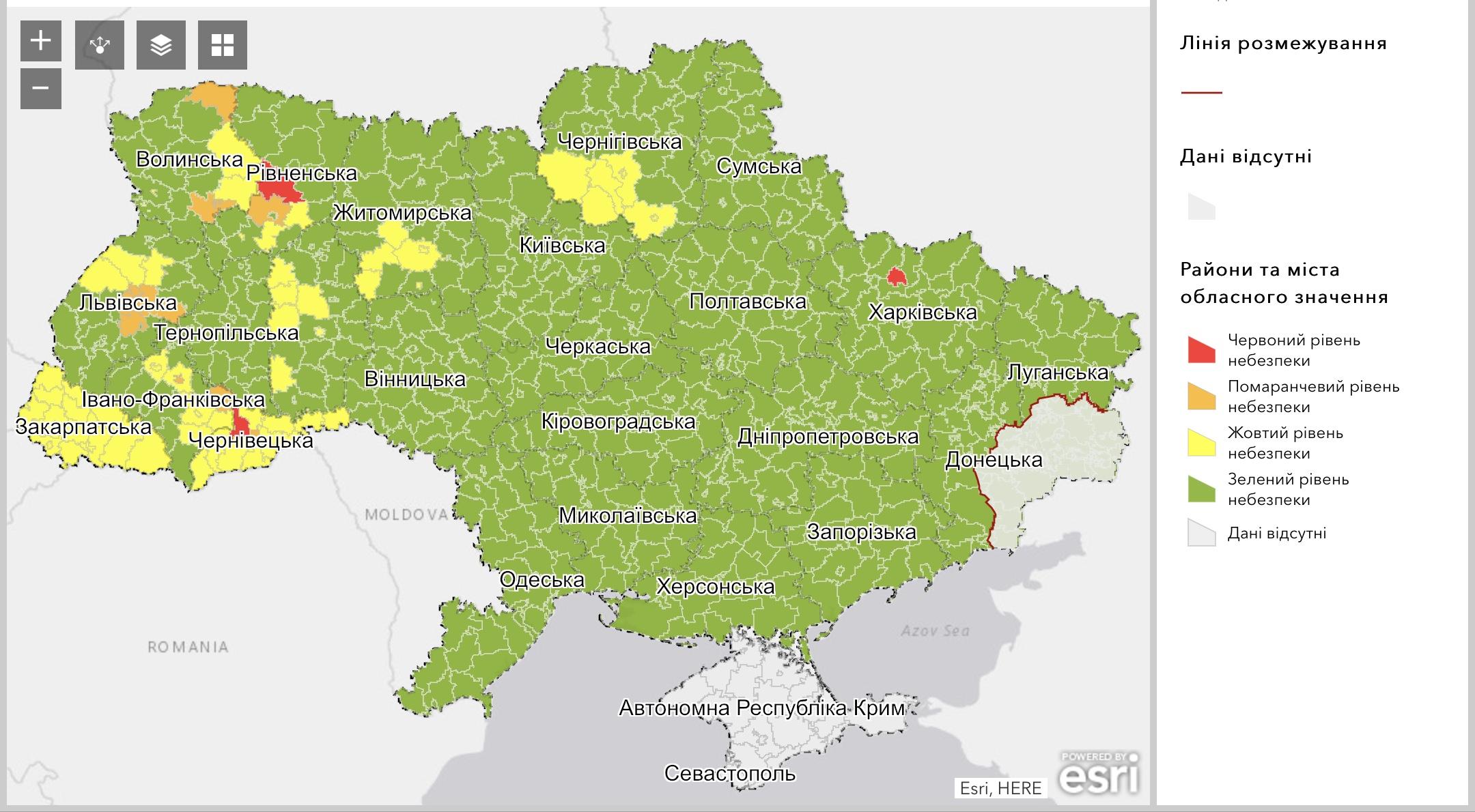 У «жовту» зону потрапили місто Хмельницький та п'ять районів